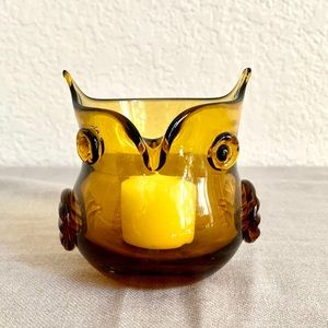 Amber Glass Owl Candle Holder